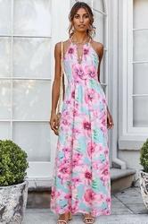 Letnia sukienka turkusowa w duże różowe kwiaty