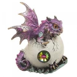 Smocze jajo z kryształem i fioletowy smok - figurka fantasy