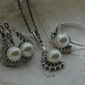 Oktawia - srebrny komplet z perłami i cyrkoniami