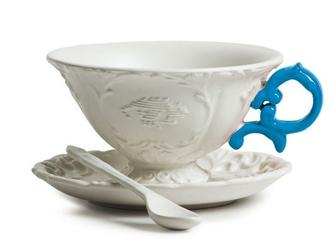 Filiżanka do herbaty ze spodkiem i łyżeczką I-Tea niebieska