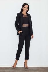 Czarne eleganckie spodnie cygaretki z mankietem