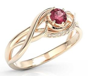 Pierścionek z różowego złota z rubinem i brylantami bp-7130p - różowe  rubin