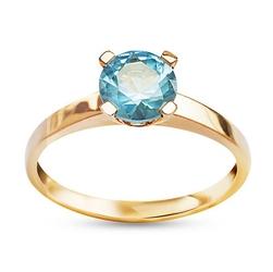Staviori pierścionek. cyrkonia. żółte złoto 0,333.   model ozdobiono błękitną cyrkonią.