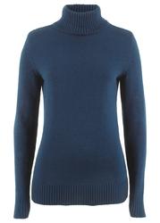 Sweter bawełniany z golfem bonprix ciemnoniebieski