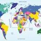 Fototapeta world map geograficznych i politycznych