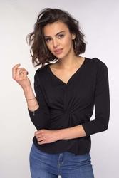 Codzienna bluzka z eleganckimi detalami czarna
