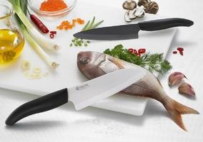 Kuchenny nóż ceramiczny santoku 14 cm kyocera gen biały fk-140wh-bk