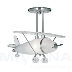 Novelty lampa wisząca 1 stal szkło samolot