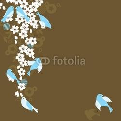 Obraz na płótnie canvas trzyczęściowy tryptyk sakura i ptaki kwiat wiśni