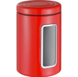 Pojemnik kuchenny czerwony, metalowy z okienkiem Classic Wesco 321206-02