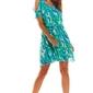 Zwiewna letnia zielona sukienka w kwiaty z rozciętym rękawem