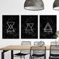 Zestaw trzech plakatów - triangular marble , wymiary - 60cm x 90cm 3 sztuki, kolor ramki - czarny