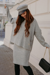 Komplet - sweter z golfem i dopasowana spódnica - jasnoszary