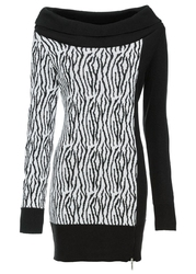 Sweter bonprix czarno-biały w paski zebry