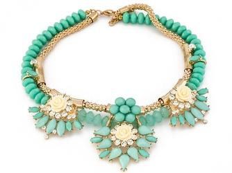 Naszyjnik kolia zielony złoty kryształki