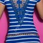 T-shirt w paski z tiulową wstawką na plecach | chabrowa koszulka