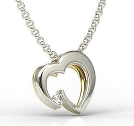 Wisiorek z białego i żółtego złota w kształcie serca z diamentem lpw-95bz