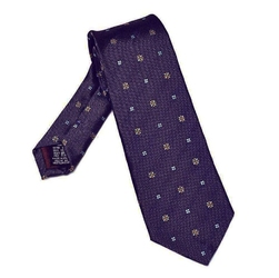Elegancki fioletowy krawat van thorn w złoty i błękitny wzór