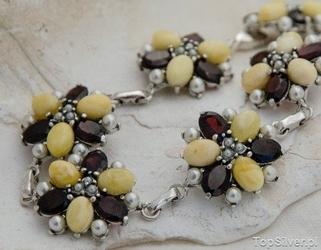 Mariano - srebrna bransoleta perły, granaty i bursztyny
