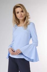 Błękitna wizytowa bluzka z hiszpańskim rękawem