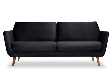 Sofa aster 3-osobowa welur bawełna 100 czarny