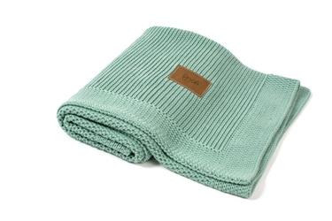 Kocyk tkany z bawełny organicznej - Mięta polna