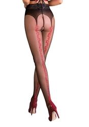 Rajstopy cienkie - wzór z koronką erotica carmen beżowoczarne : rozmiar - ml
