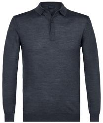 Elegancki sweter polo z długimi rękawami w kolorze antracytu L