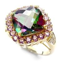 Zorza polarna złoty pierścionek mistic topaz ametysty diamenty duży koktajlowy 5,2 ct.