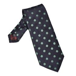 Granatowy krawat jedwabny w zielone kwiatki