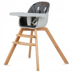 Kidwell nobis 2w1 gray drewniane krzesełko do karmienia i fotelik