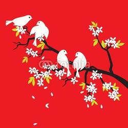 Naklejka samoprzylepna sakura i ptaki kwiat wiśni