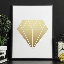 Złoty diament - plakat w ramie , wymiary - 70cm x 100cm, kolor ramki - czarny, kolor nadruku - srebrny