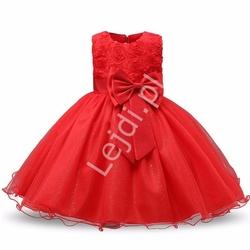 Czerwona tiulowa sukienka dla dziewczynki z różami