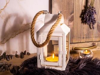 Latarenka  latarnia  lampion ozdobny wiszący metalowy altom design biała z uchwytem z plecionego sznurka 21,5 cm