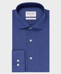 Elegancka ciemnoniebieska koszula ze splotem oxford michaelis z kołnierzem włoskim 37