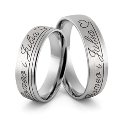 Obrączki ślubne z białego złota niklowego z imionami i emalią - au-982