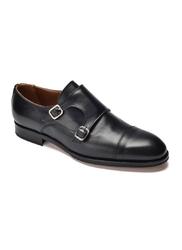 Eleganckie czarne skórzane buty męskie podwójne monki 8