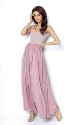 Sukienka maxi z odsłoniętymi plecami - pudrowy róż
