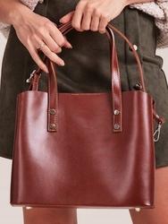 Włoska skórzana torebka shopper bag brązowa rovicky twr-61 - brązowy