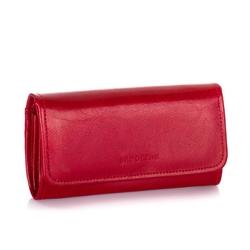 Elegancki portfel ze skóry naturalnej brodrene a-13 czerwony