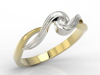 Pierścionek zaręczynowy z żółtego i białego złota z diamentem ap-7508zb