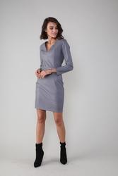 Dopasowana sukienka w serek z eco- skóry - szara