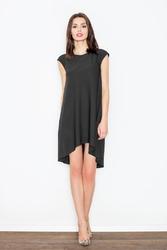 Czarna romantyczna sukienka z wydłużonym tyłem