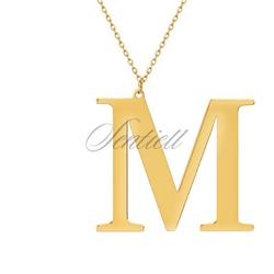 Srebrny pozłacany naszyjnik pr.925 literka m - żółte złoto  m
