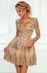 Koronkowa sukienka wieczorowa z długim rękawem, karmelowa  - amelia