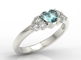 Pierścionek z białego złota z niebieskim topazem swarovski i diamentami bp-54b - białe  topaz ice blue