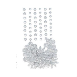 Samoprzylepne perełki+ kwiatki - 69 szt. - srebrne - SRE