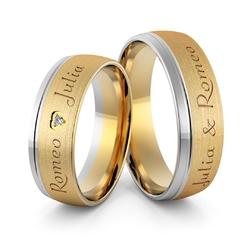 Obrączki ślubne dwukolorowe z imionami i sercem - au-989