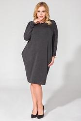 Ciemnoszara luźna dzianinowa sukienka mini z długim rękawem plus size